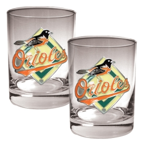 Baltimore Orioles 2pc Rocks Glass Set