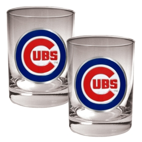 Chicago Cubs 2pc Rocks Glass Set