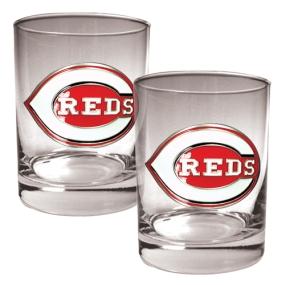 Cincinnati Reds 2pc Rocks Glass Set