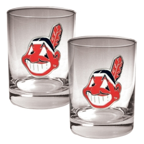 Cleveland Indians 2pc Rocks Glass Set