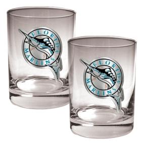 Florida Marlins 2pc Rocks Glass Set