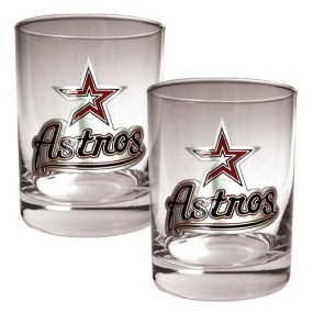 Houston Astros 2pc Rocks Glass Set