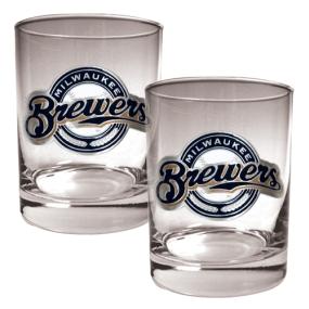 Milwaukee Brewers 2pc Rocks Glass Set