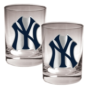New York Yankees 2pc Rocks Glass Set