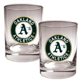 Oakland A's 2pc Rocks Glass Set