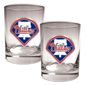 Philadelphia Phillies 2pc Rocks Glass Set