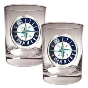 Seattle Mariners 2pc Rocks Glass Set