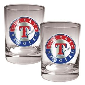 Texas Rangers 2pc Rocks Glass Set