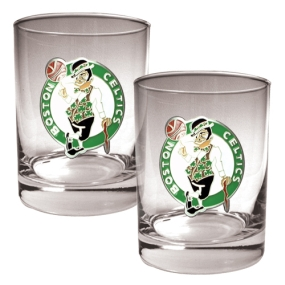 Boston Celtics 2pc Rocks Glass Set