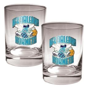 New Orleans Hornets 2pc Rocks Glass Set
