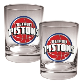 Detroit Pistons 2pc Rocks Glass Set