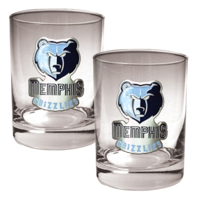 Memphis Grizzlies 2pc Rocks Glass Set