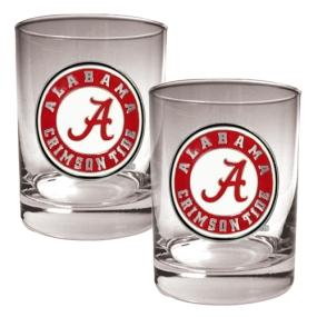 Alabama Crimson Tide 2pc Rocks Glass Set