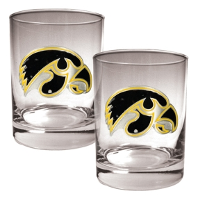Iowa Hawkeyes 2pc Rocks Glass Set