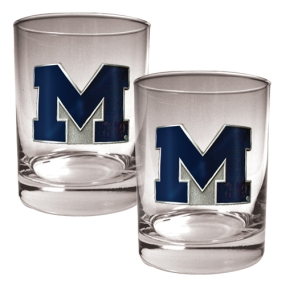 Michigan Wolverines 2pc Rocks Glass Set