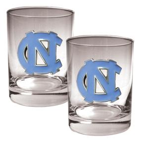 UNC Tar Heels 2pc Rocks Glass Set