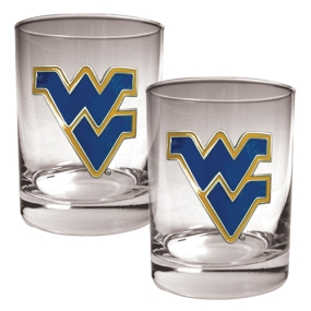 West Virginia Mountaineers 2pc Rocks Glass Set