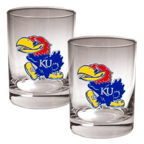 Kansas Jayhawks 2pc Rocks Glass Set
