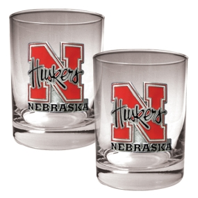 Nebraska Cornhuskers 2pc Rocks Glass Set
