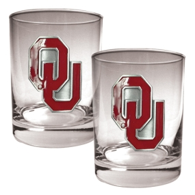 Oklahoma Sooners 2pc Rocks Glass Set