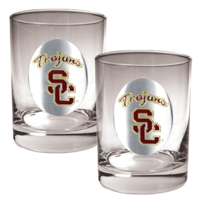 USC Trojans 2pc Rocks Glass Set