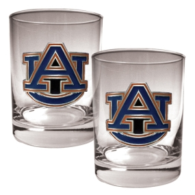 Auburn Tigers 2pc Rocks Glass Set