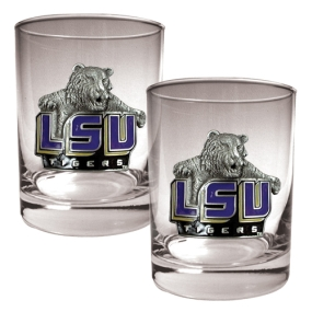 LSU Tigers 2pc Rocks Glass Set