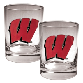 Wisconsin Badgers 2pc Rocks Glass Set