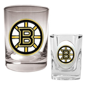 Boston Bruins Rocks Glass & Square Shot Glass Set