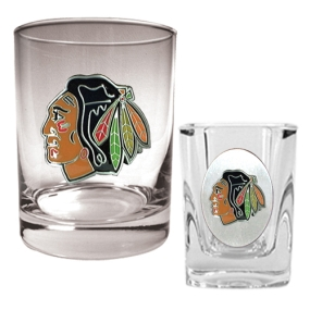 Chicago Blackhawks Rocks Glass & Square Shot Glass Set