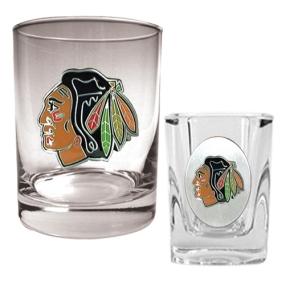 Chicago Blackhawks Rocks Glass & Square Shot Glass Set
