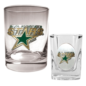 Dallas Stars Rocks Glass & Square Shot Glass Set
