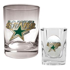 Dallas Stars Rocks Glass & Square Shot Glass Set