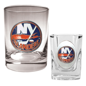 New York Islanders Rocks Glass & Square Shot Glass Set