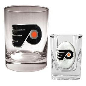 Philadelphia Flyers Rocks Glass & Square Shot Glass Set