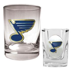 St. Louis Blues Rocks Glass & Square Shot Glass Set