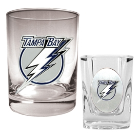 Tampa Bay Lightning Rocks Glass & Square Shot Glass Set