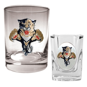 Florida Panthers Rocks Glass & Square Shot Glass Set