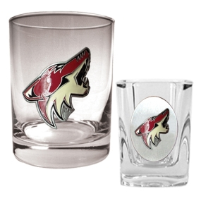 Phoenix Coyotes Rocks Glass & Square Shot Glass Set