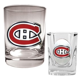 Montreal Canadiens Rocks Glass & Square Shot Glass Set