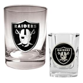 Oakland Raiders Rocks Glass & Shot Glass Set