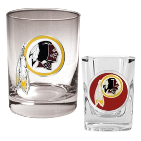 Washington Redskins Rocks Glass & Shot Glass Set