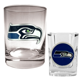 Seattle Seahawks Rocks Glass & Shot Glass Set