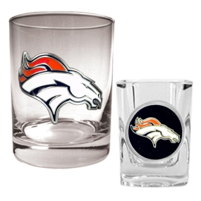 Denver Broncos Rocks Glass & Shot Glass Set