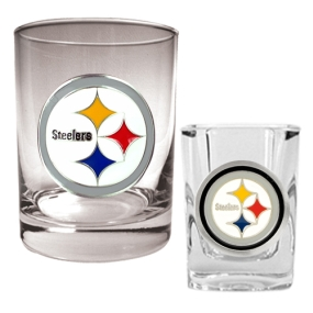 Pittsburgh Steelers Rocks Glass & Shot Glass Set