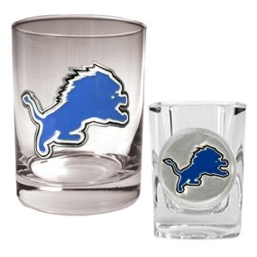 Detroit Lions Rocks Glass & Shot Glass Set