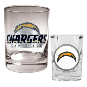 San Diego Chargers Rocks Glass & Shot Glass Set