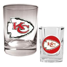 Kansas City Chiefs Rocks Glass & Shot Glass Set