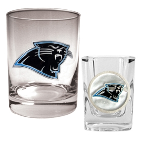 Carolina Panthers Rocks Glass & Shot Glass Set