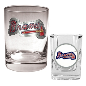 Atlanta Braves Rocks Glass & Square Shot Glass Set